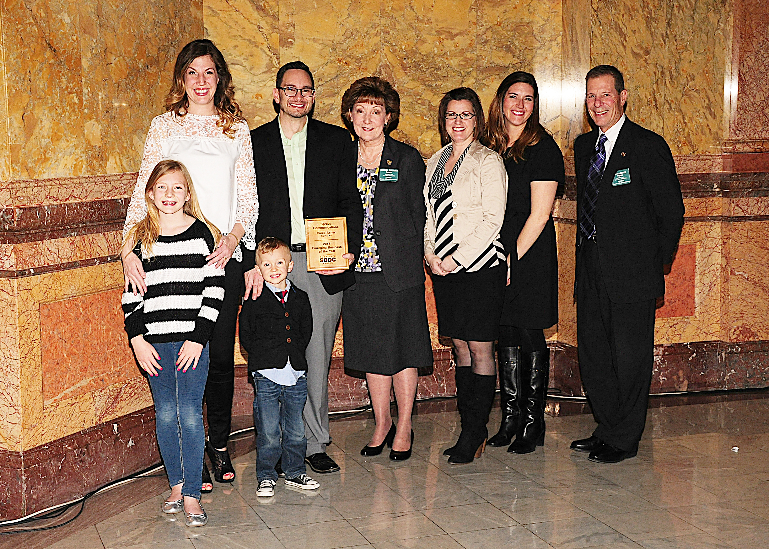 Sprout - Caleb Asher and family, Rep. Dietrich, employees, Rep. Gartner